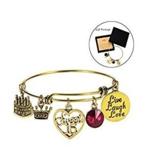 Jewelry - July Birthday Bangles Live Laugh Love Charms Birth
